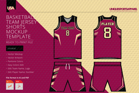 Spike style basketball jersey and shorts mockup