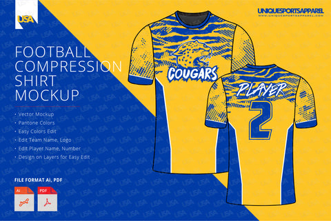 Team cougars compression shirt design template
