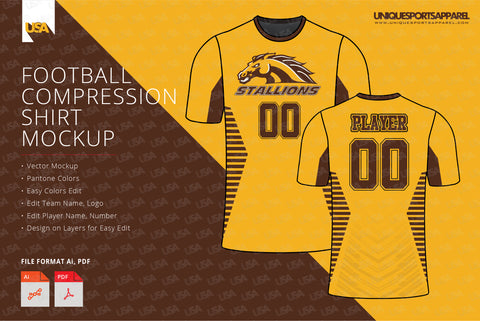 Stallions compression shirt design template