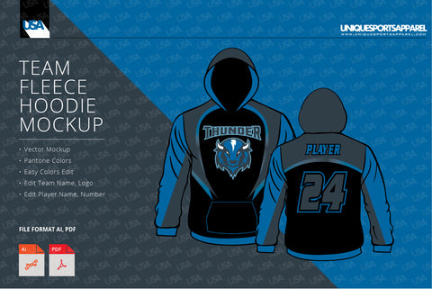Thunder fleece hoodie design mockup