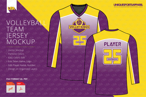 Kings Volleyball Jersey Design Mockup