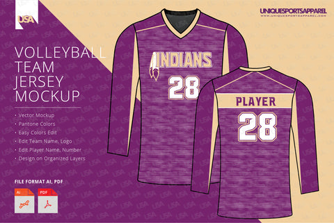 Indians Volleyball Jersey Design Mockup