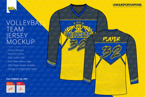 Wildcats Volleyball Jersey Design Mockup