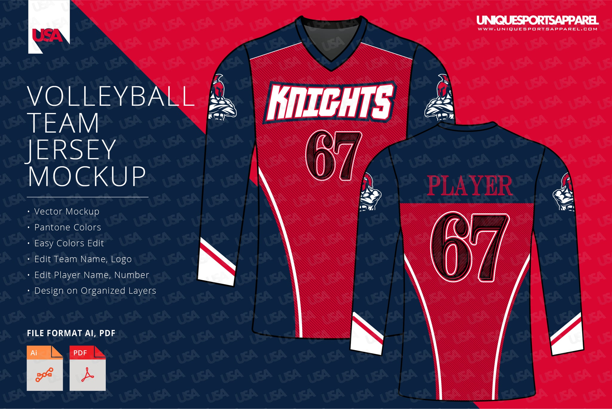 KNIGHTS VOLLEYBALL FULL SLEEVES JERSEY