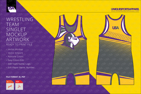Warriors Wrestling Singlet Design Mockup