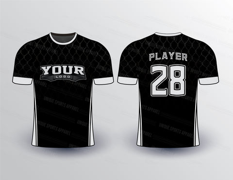 Black Net Pattern Sports Jersey Design Mockup