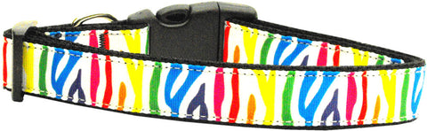 Rainbow Zebra Nylon Collar