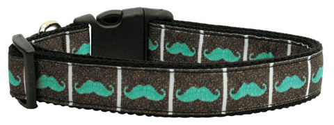 Aqua Mustaches Nylon Collar