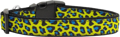 Blue and Yellow Leopard Nylon Collar