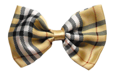 Cream Plaid Dog Bow Tie