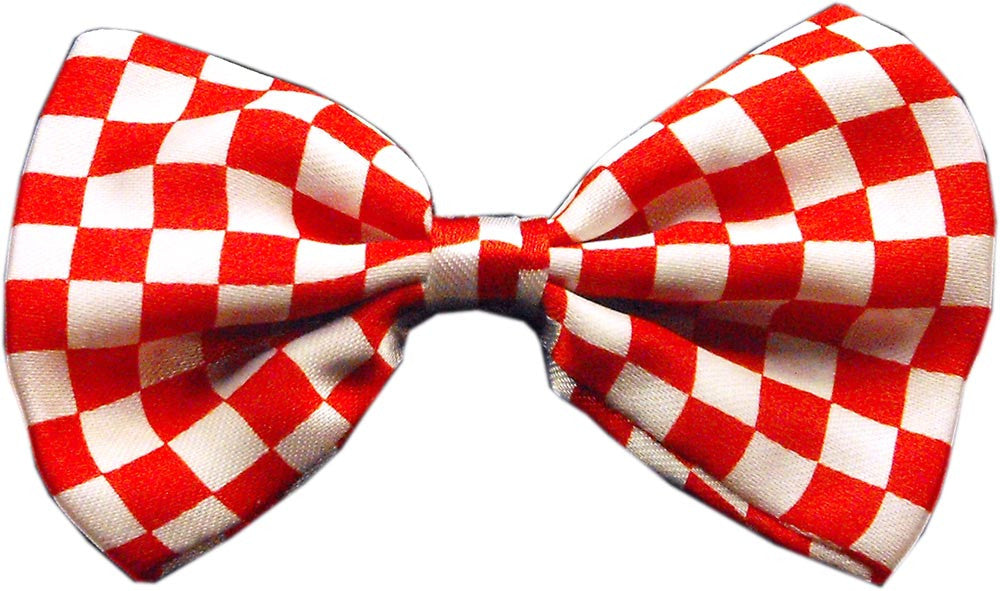 red checkerboard dog bow tie