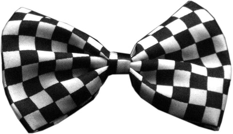 Black Checkerboard Dog Bow Tie