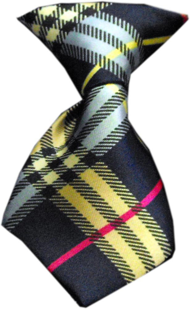 mix plaid dog neck tie