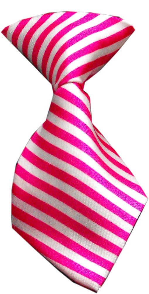 pink stripe dog neck tie