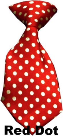 red swiss dot dog neck tie