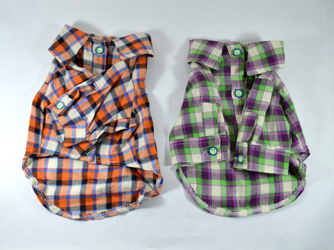 Long Sleeve Plaid Button Down Dog Shirt