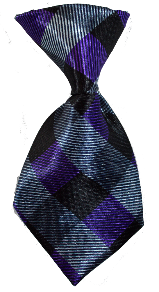 purple grey and black dog neck tie