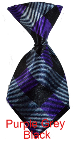 purple grey black dog neck tie