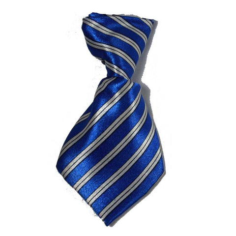 Blue and White Stripe Dog Neck Tie