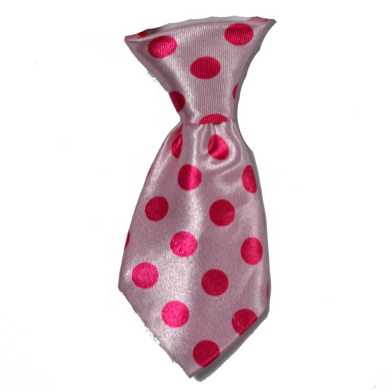 Polka Dot Pink Dog Neck Tie