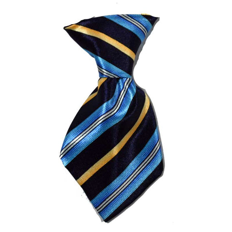Blue and Yellow Stripe Dog Neck Tie