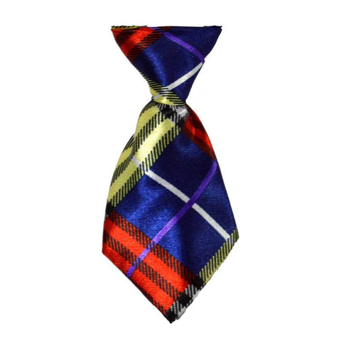 Blue Mix Plaid Dog Neck Tie