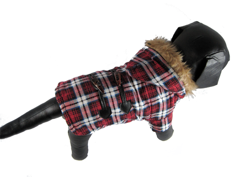 Red Plaid Dog Coat