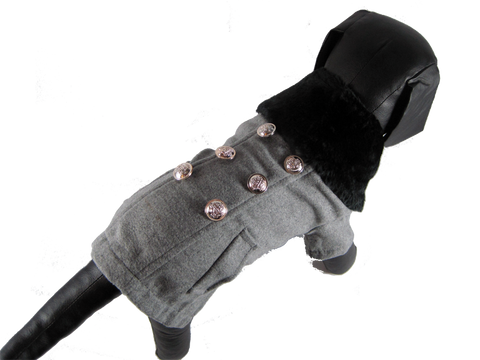 Grey Wool Military Pea Coat