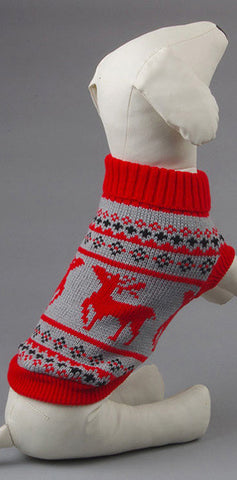 Reindeer Knit Holiday Dog Sweater