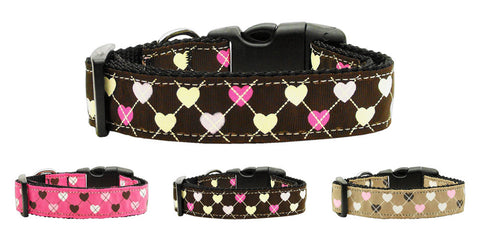 Argyle Hearts Nylon Collar