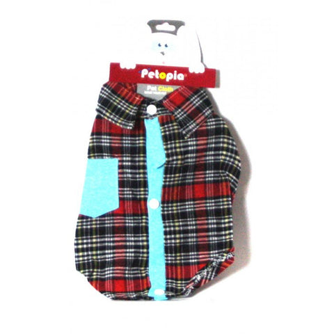red plaid button down collared shirt
