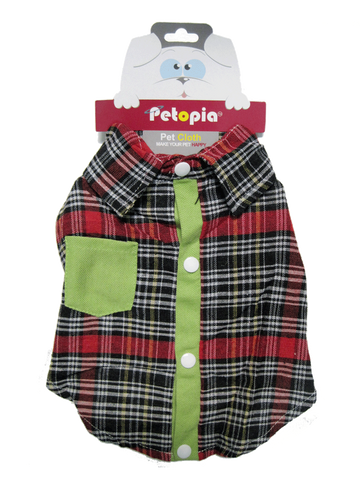 Red Plaid Button Down Collared Dog Shirt