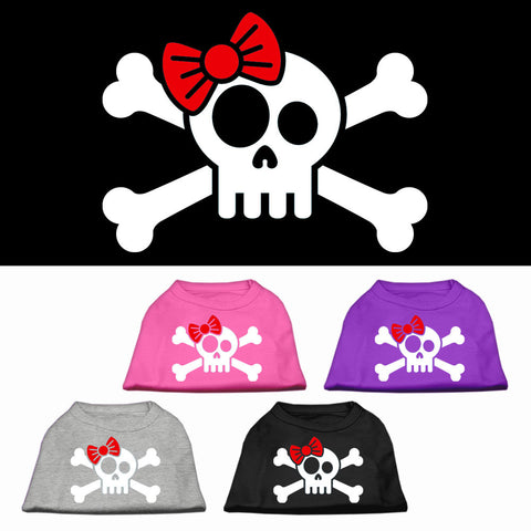 Skull and Crossbones with a Bow Dog Shirt
