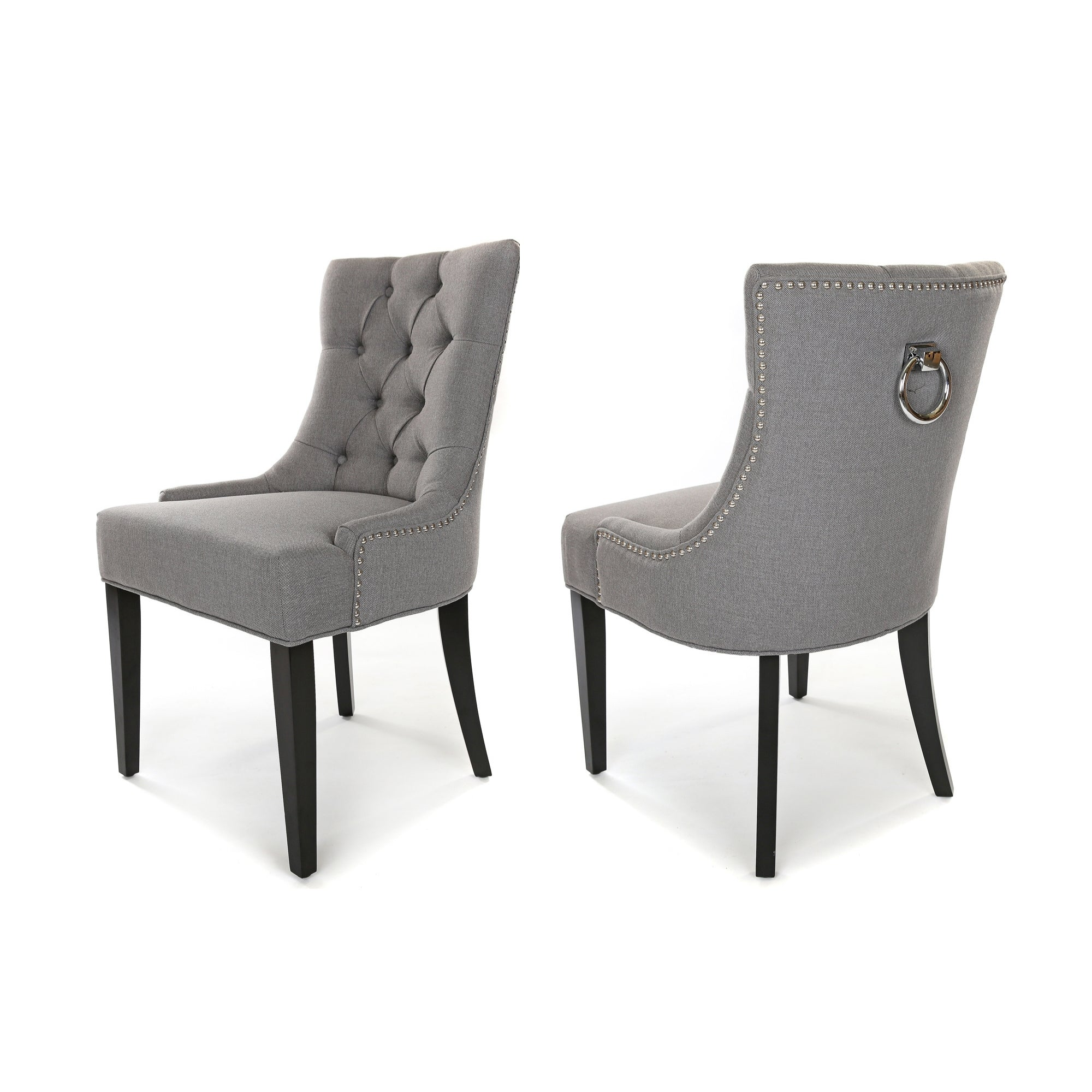 Porter Dining Chair, Ash Grey fabric, Black wood legs and a metal ring knocker