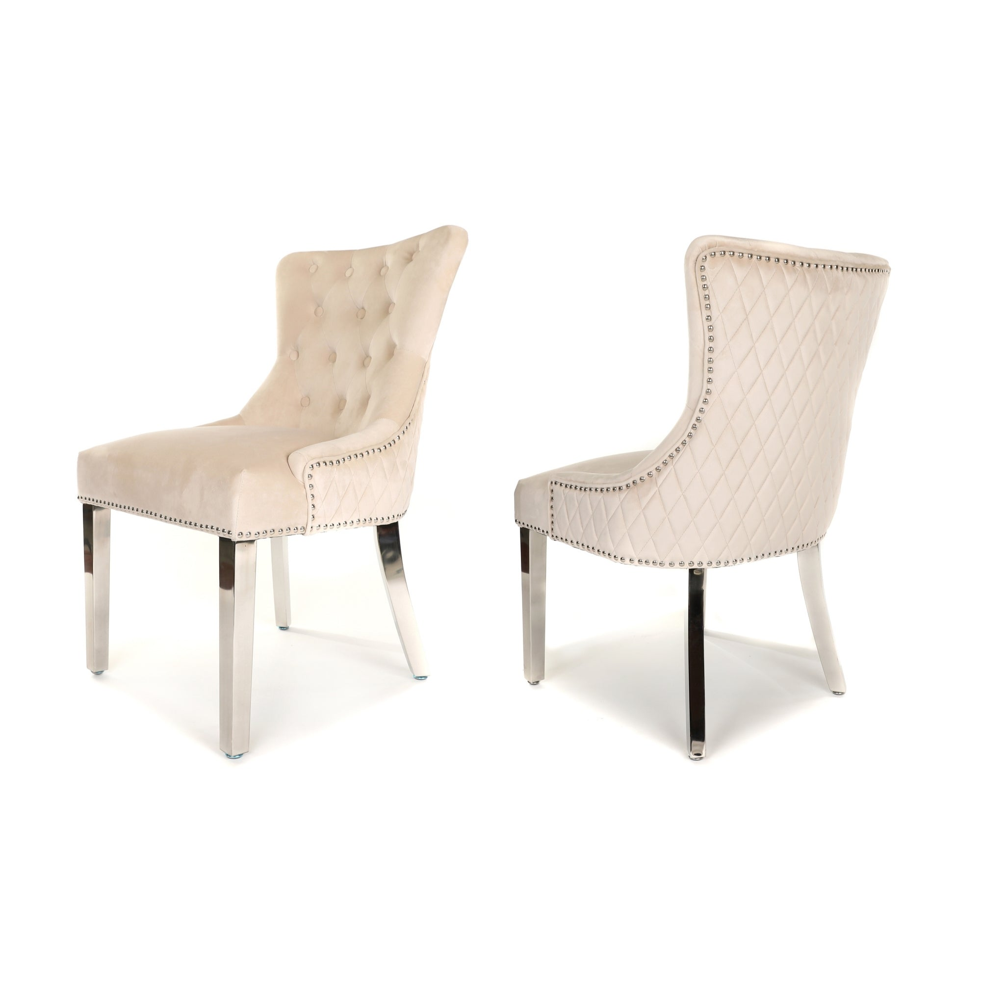 Simone Dining Chair upholstered in beige velvet with stud detail, quilted-back and metal legs
