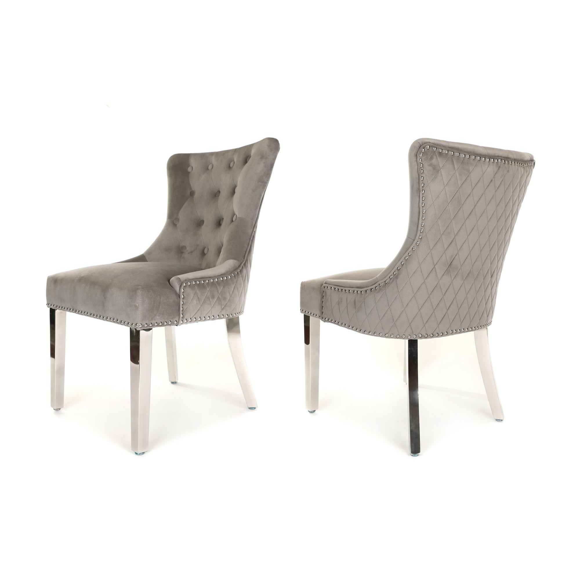 Simone Dining Chair upholstered in light grey velvet with stud detail, quilted back and metal legs