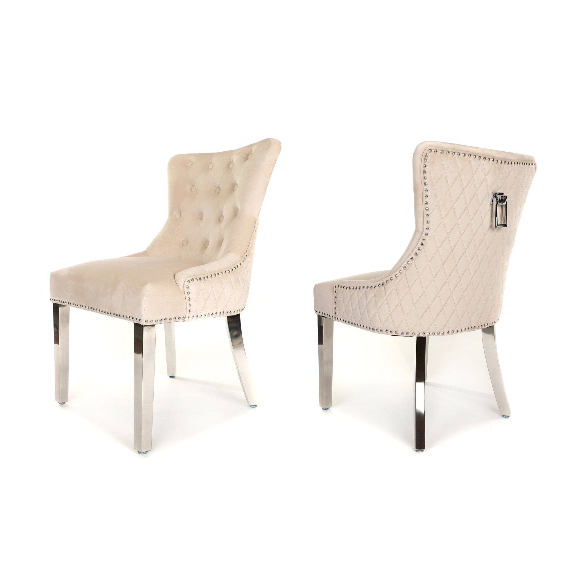 Simone Dining Chair upholstered in beige velvet with stud detail, rectangle knocker and metal legs