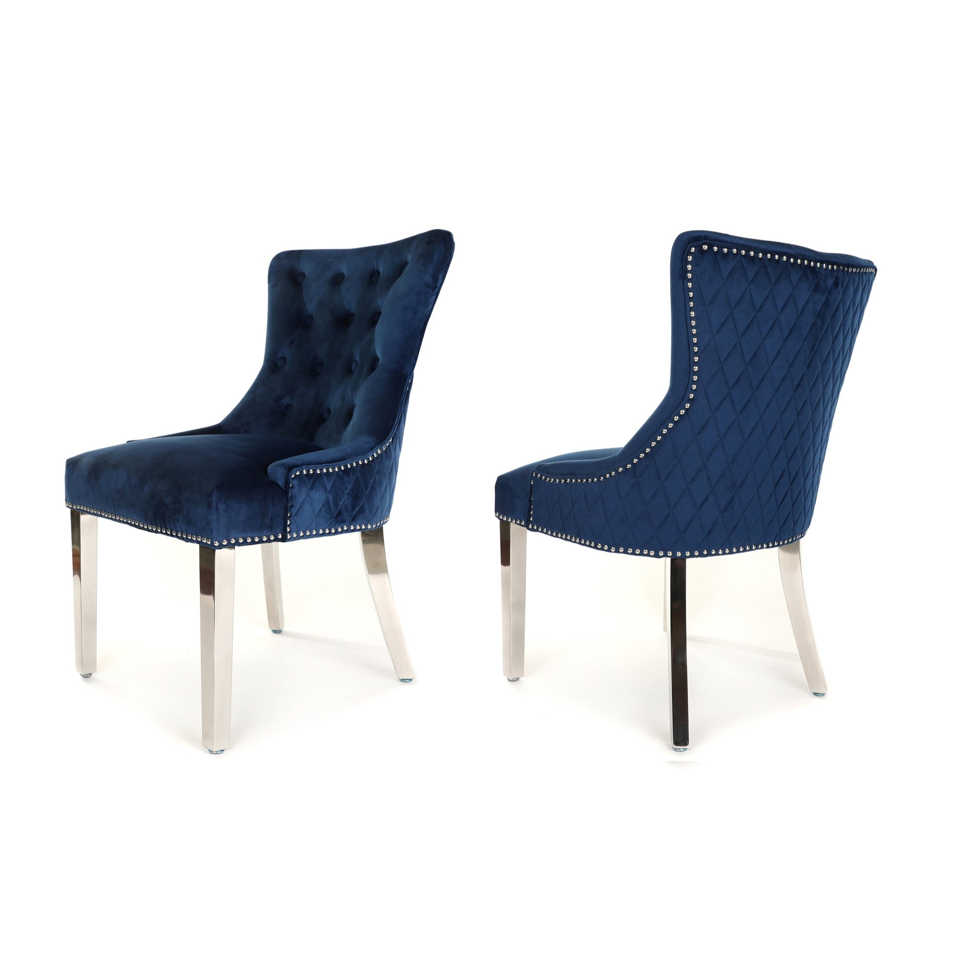 Simone Dining Chair upholstered in blue velvet with stud detail, plain quilted back and metal legs