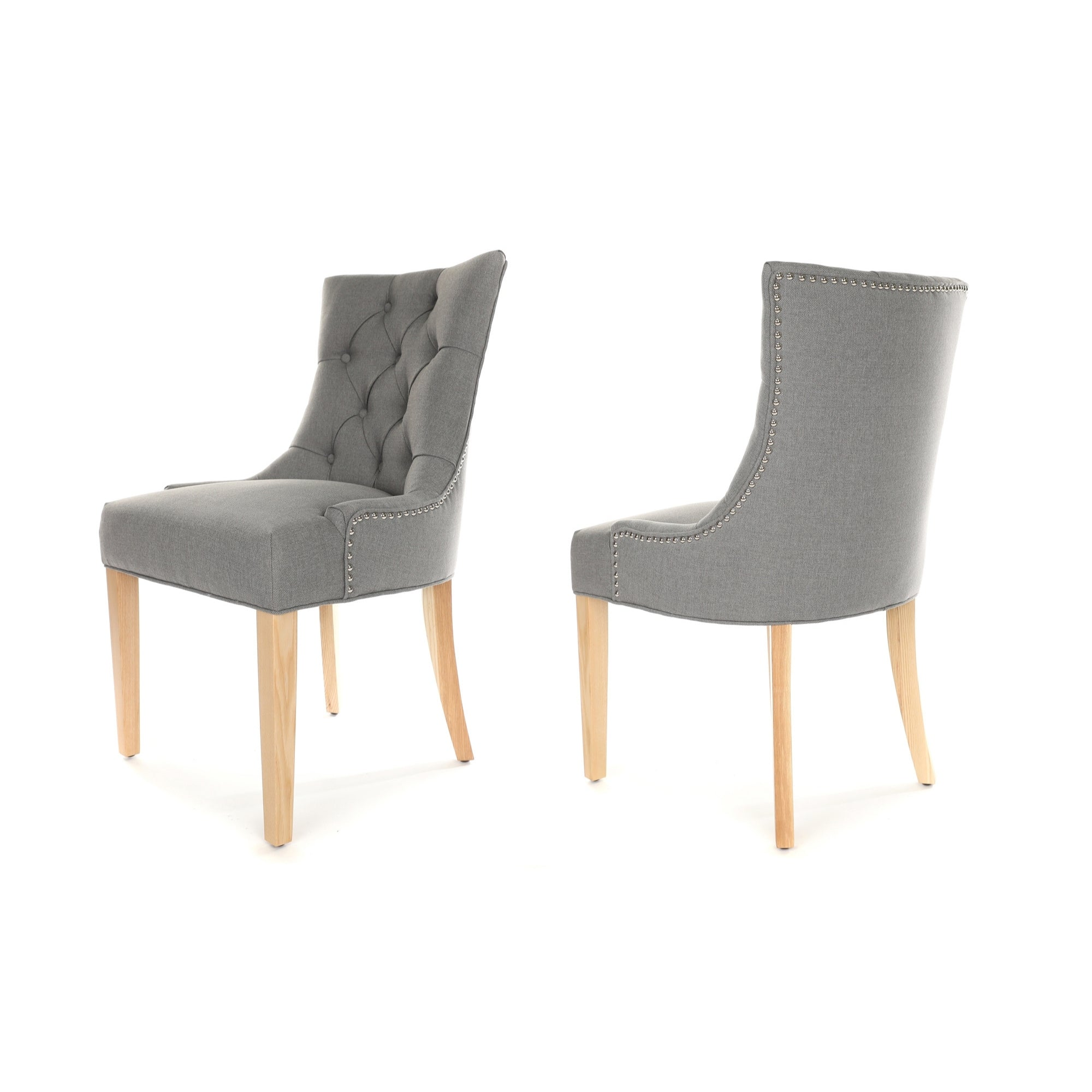 Porter Dining Chair, Grey fabric, Natural wood leg and stud detail