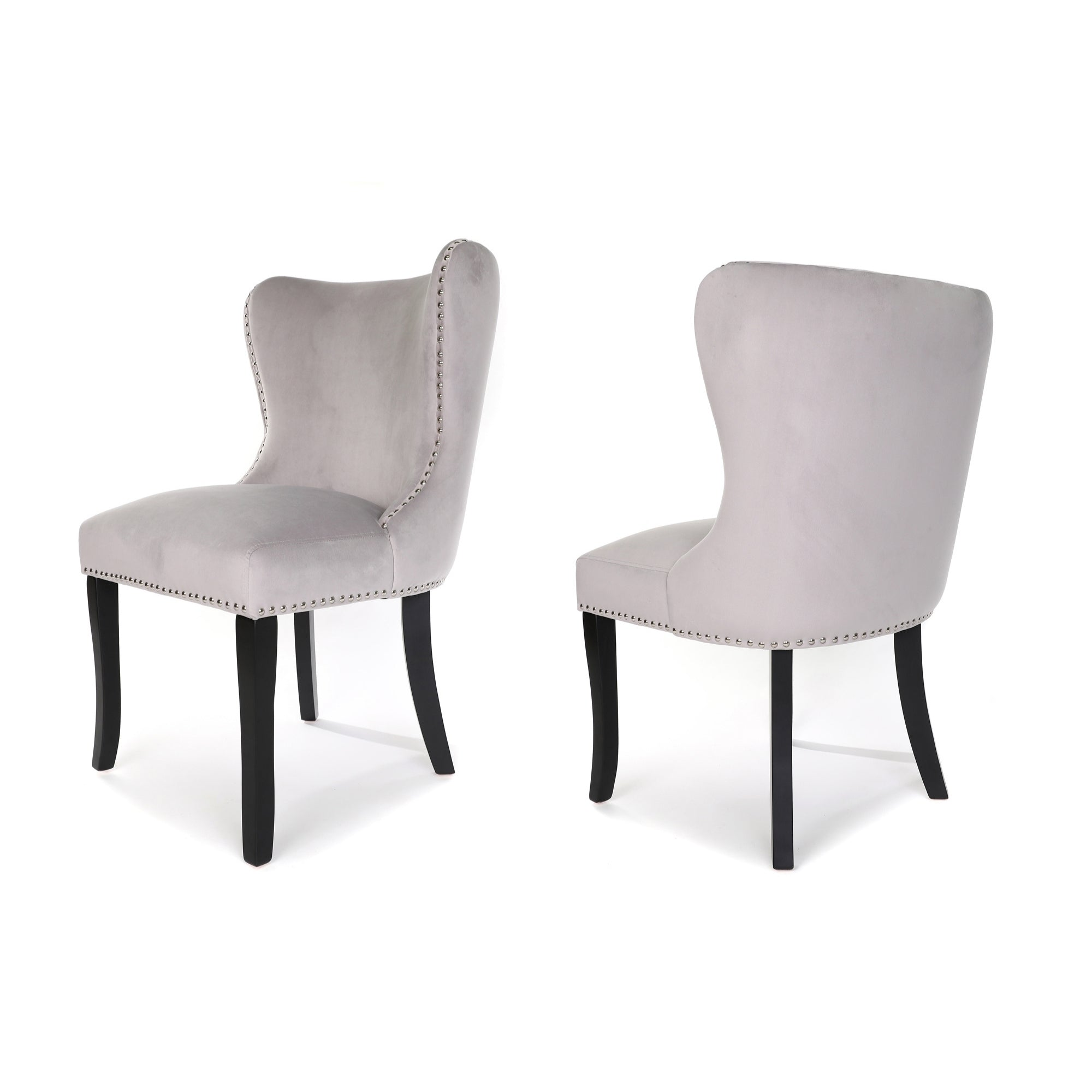 Amalfi Dining Chair, Night Grey Velvet, Black wood legs and Stud detail