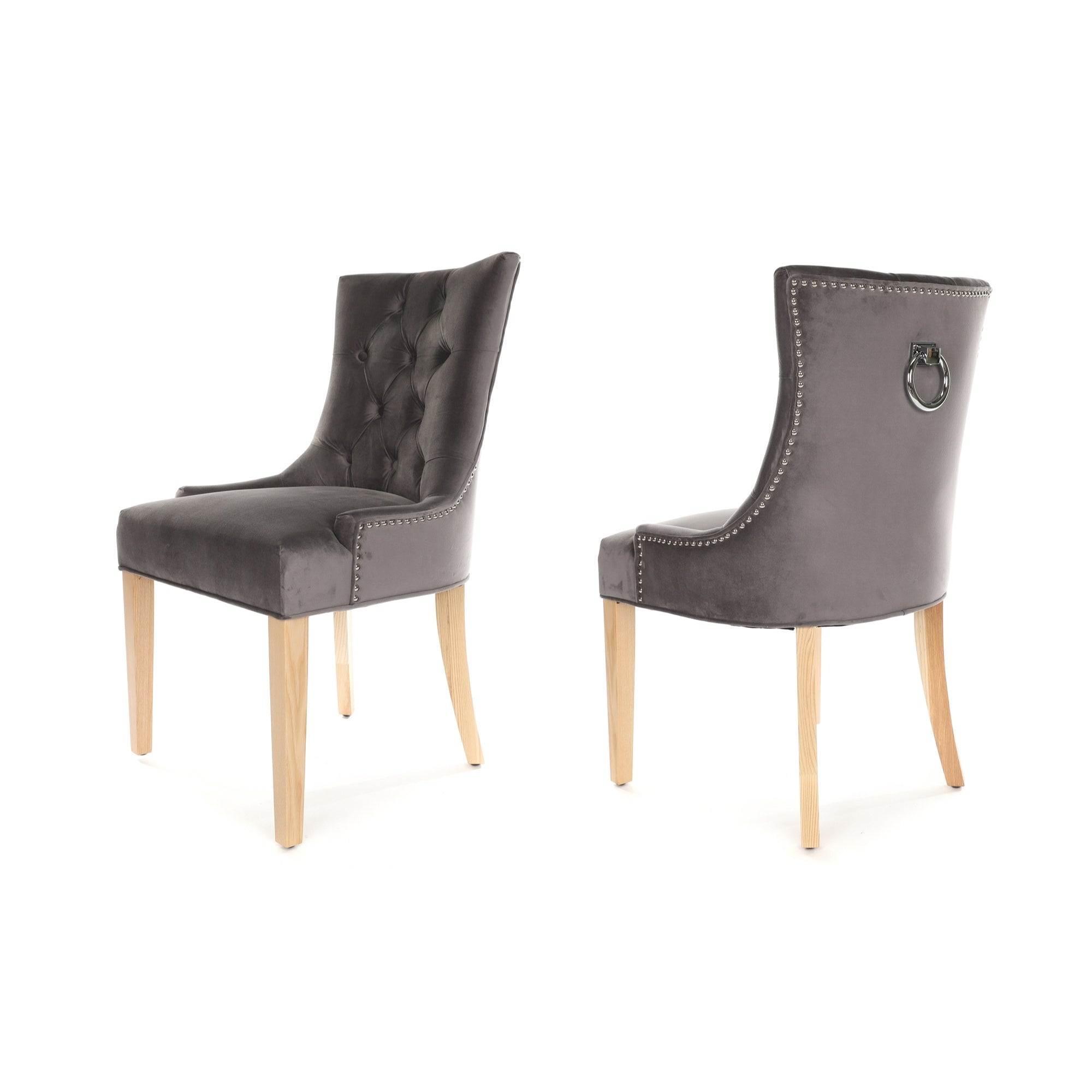 Porter Dining Chair, Dark grey velvet, Natural wood legs and a metal ring knocker