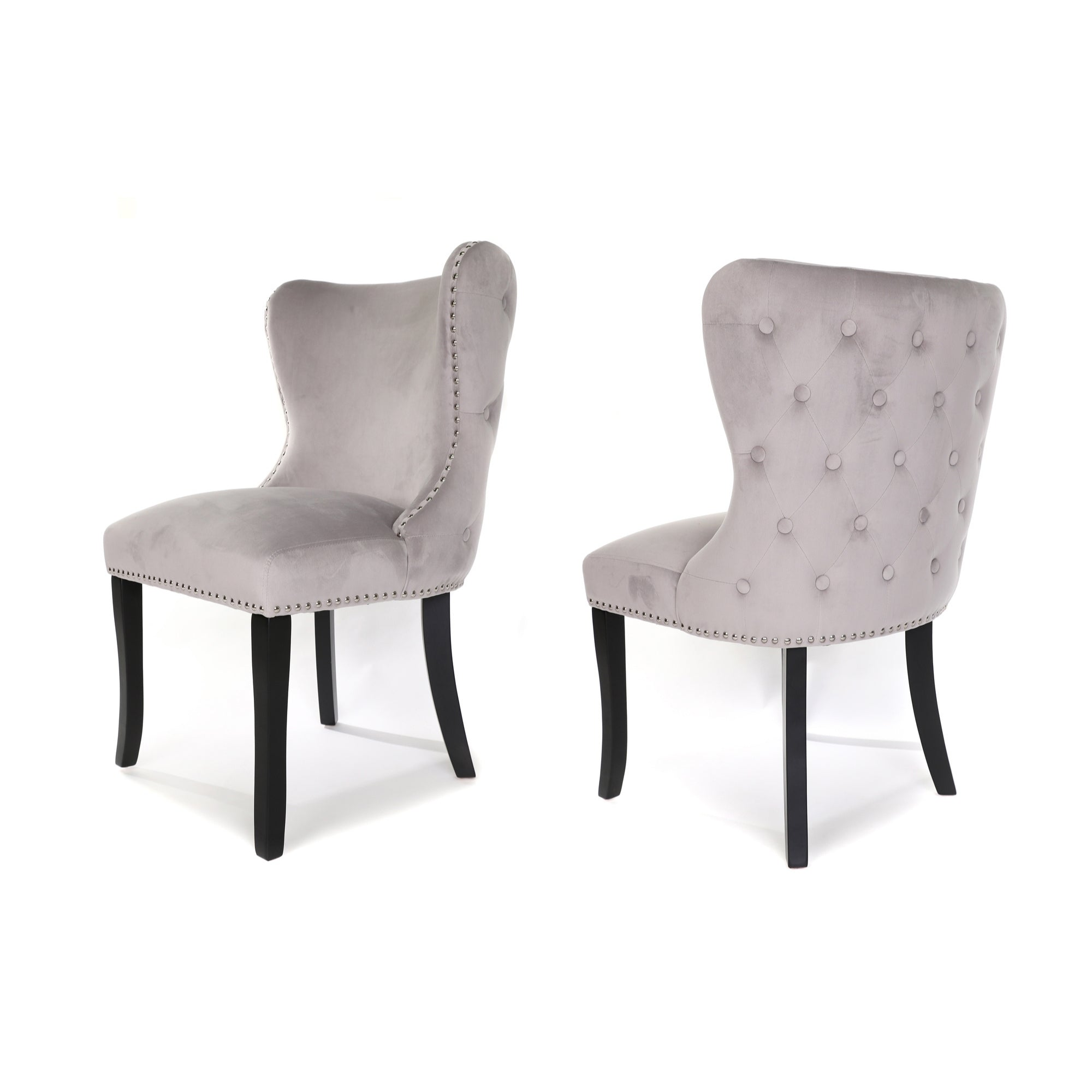 Luci Dining Chair, Soft Foggy Grey velvet, Black wood leg and Buttoned Back