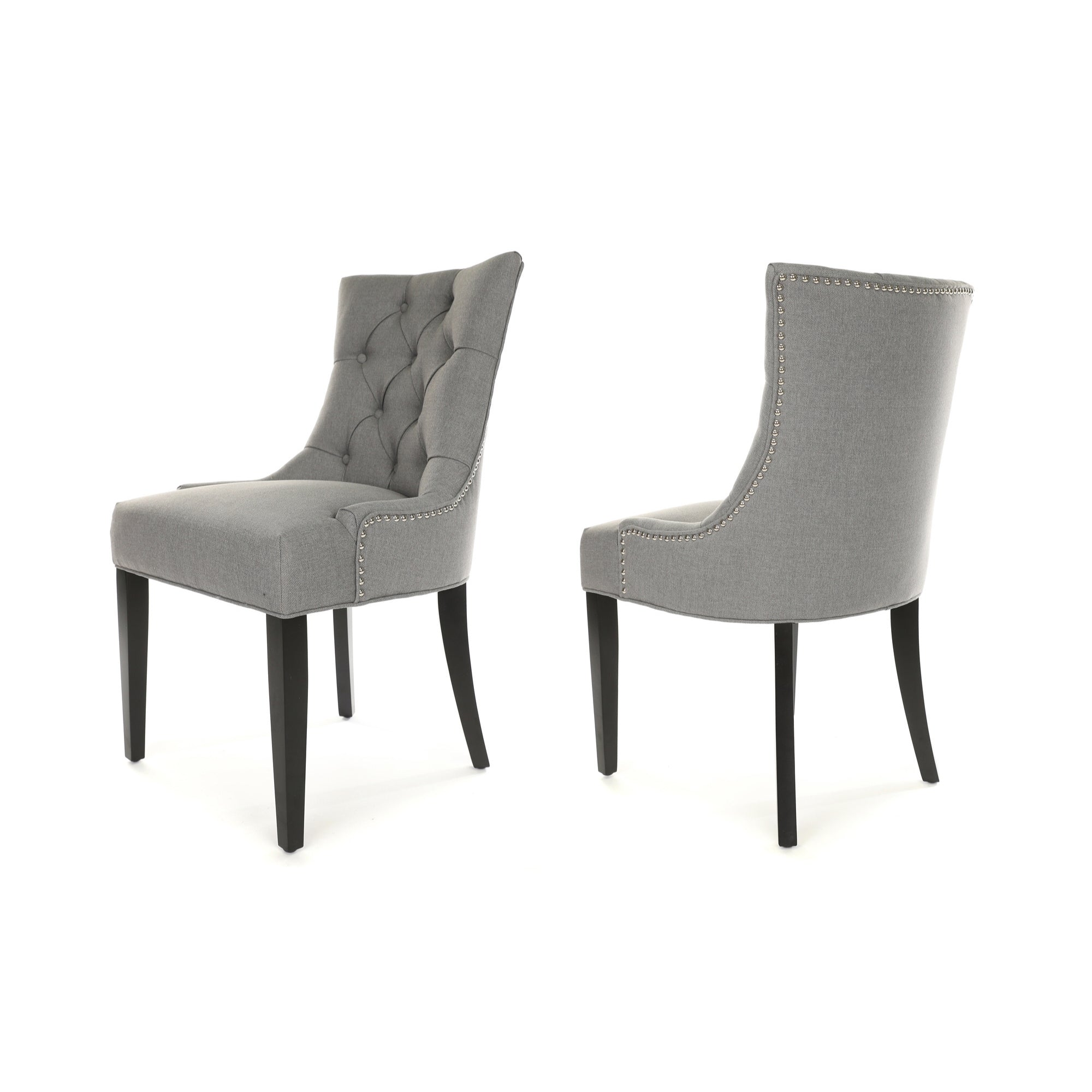 Porter Dining Chair, Grey fabric, Black wood legs and stud detail