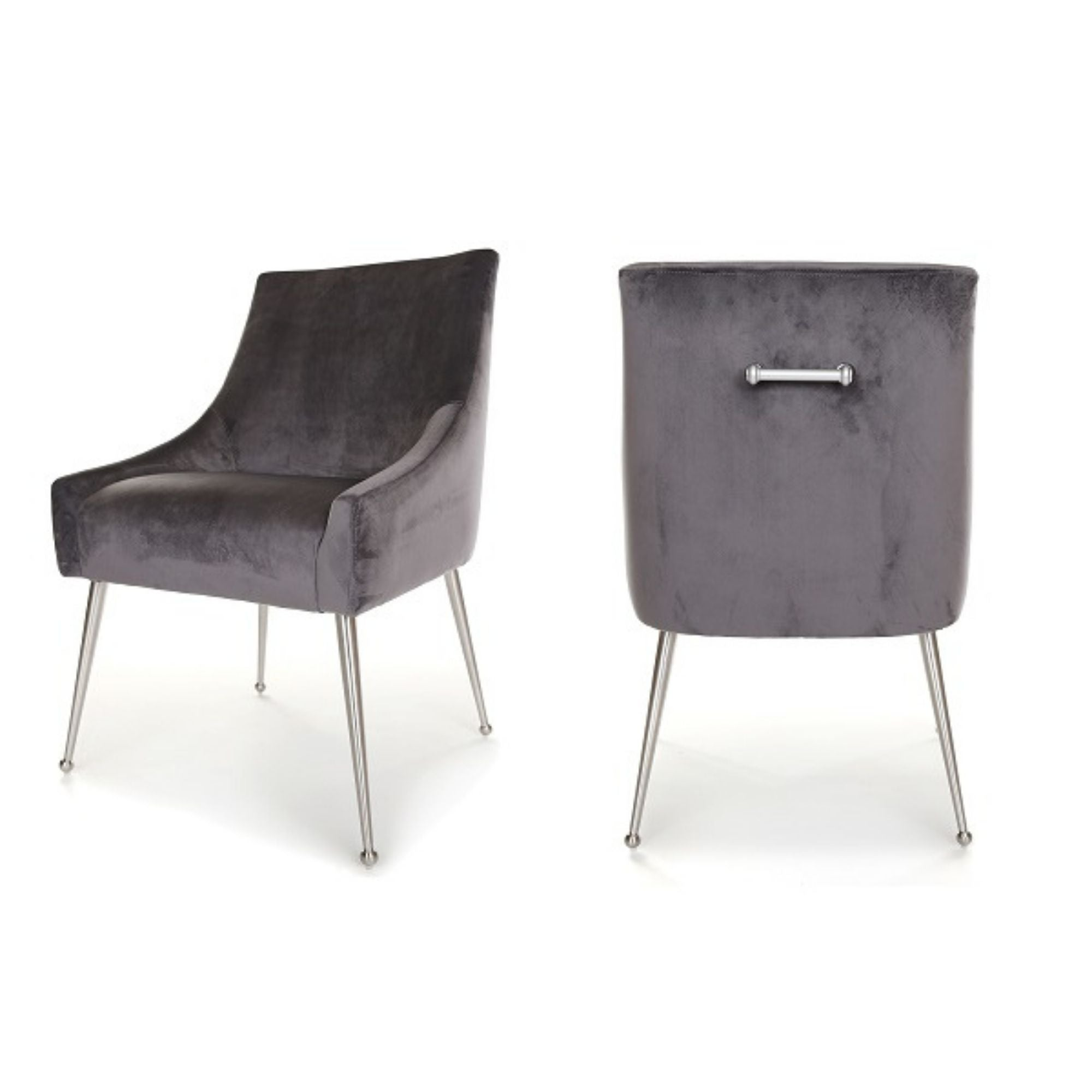 Finn Dining Chair, main image. Upholstered in Dark Grey Velvet, with polished silver legs and handle