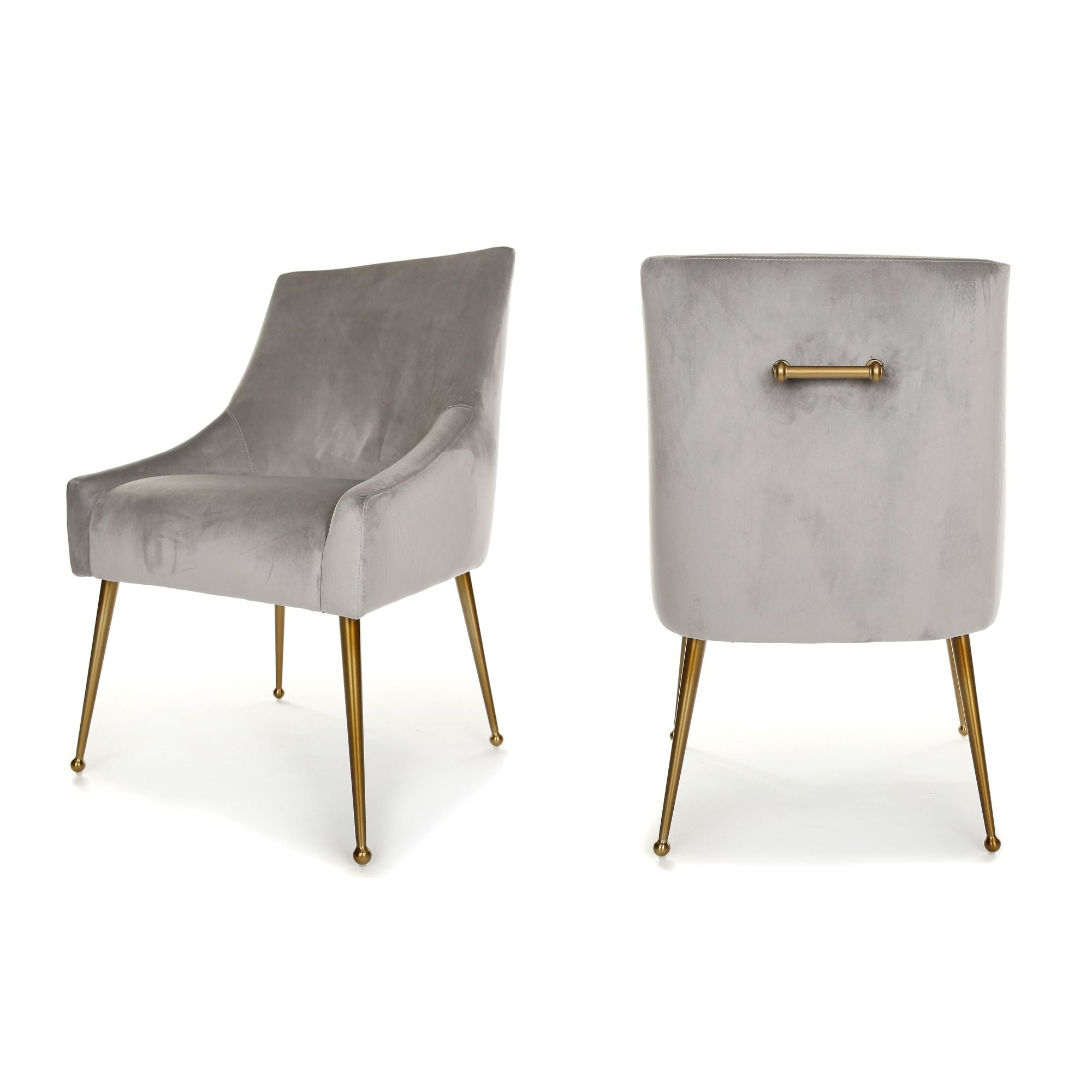 Finn Dining Chair, main image. Upholstered in Light Grey Velvet, with Brushed Gold Legs and handle