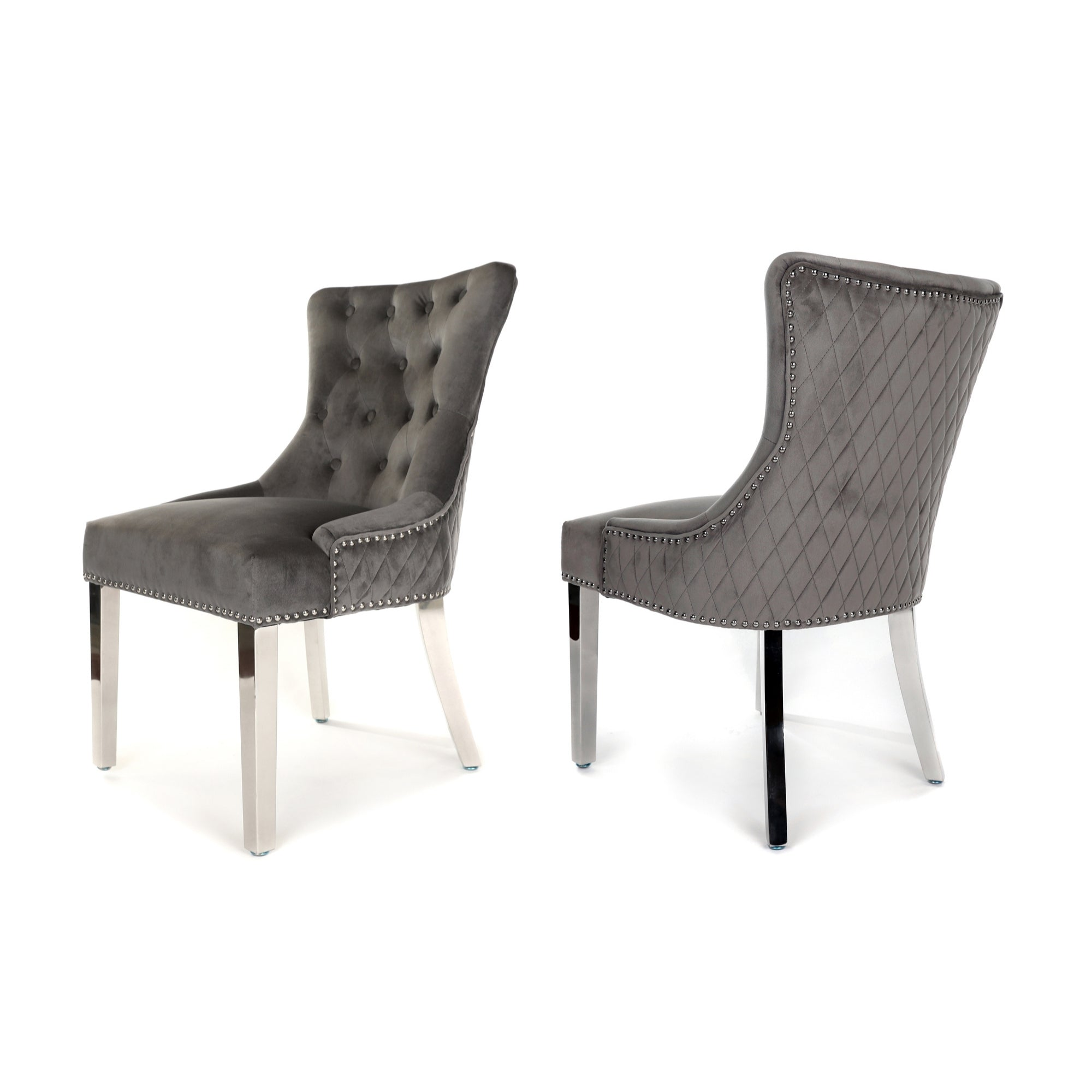 Simone Dining Chair upholstered in dark grey velvet with stud detail, quilted-back and metal legs