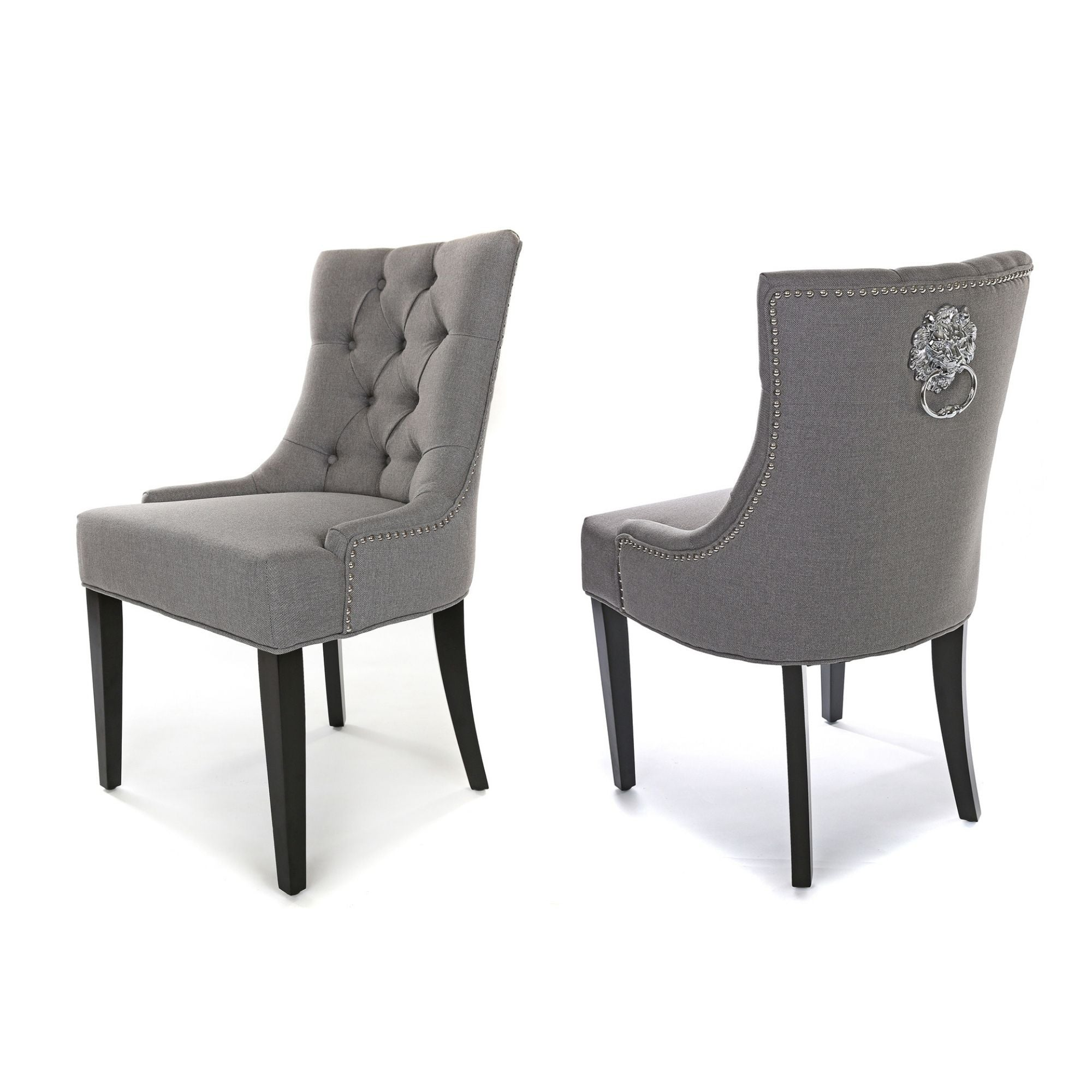 Porter Dining Chair, Grey Fabric, Black wood legs and metal lion knocker