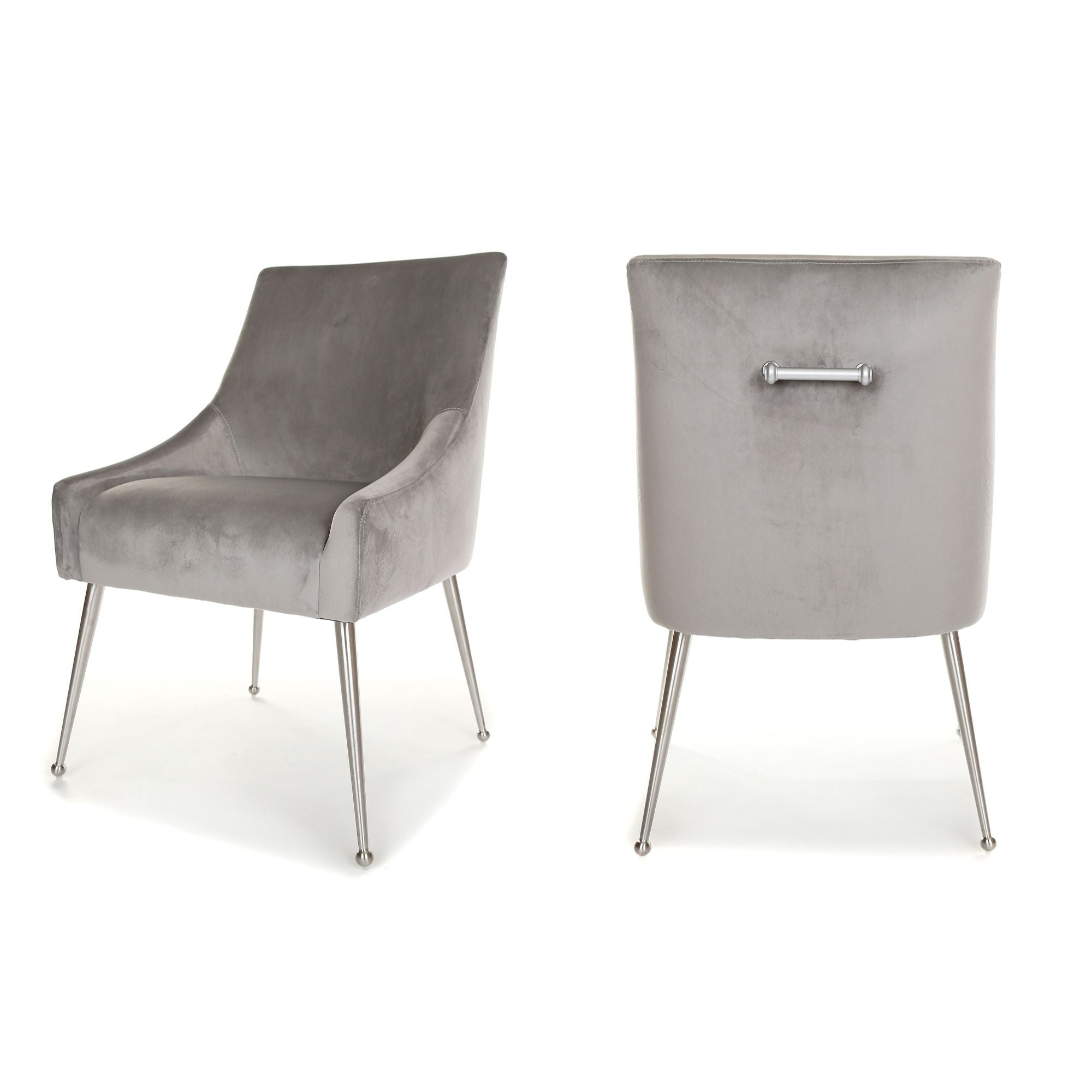 Finn Dining Chair, main image. Upholstered in Light Grey Velvet, with Brushed Silver Legs and handle