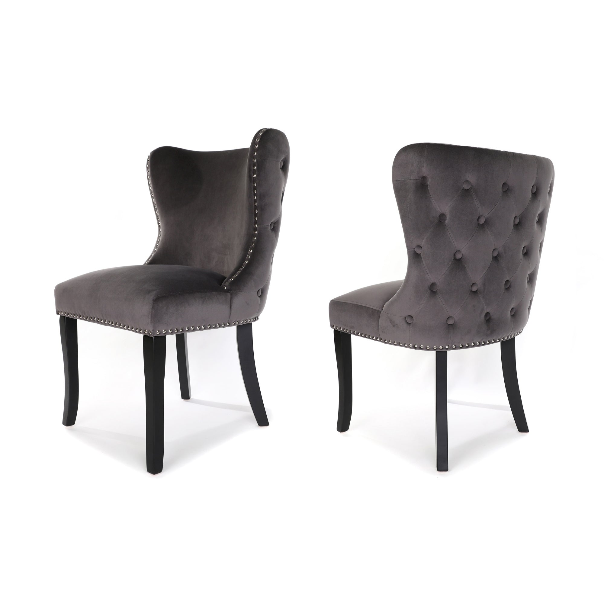 Luci Dining Chair, Charcoal Grey velvet, Black wood leg and Buttoned Back