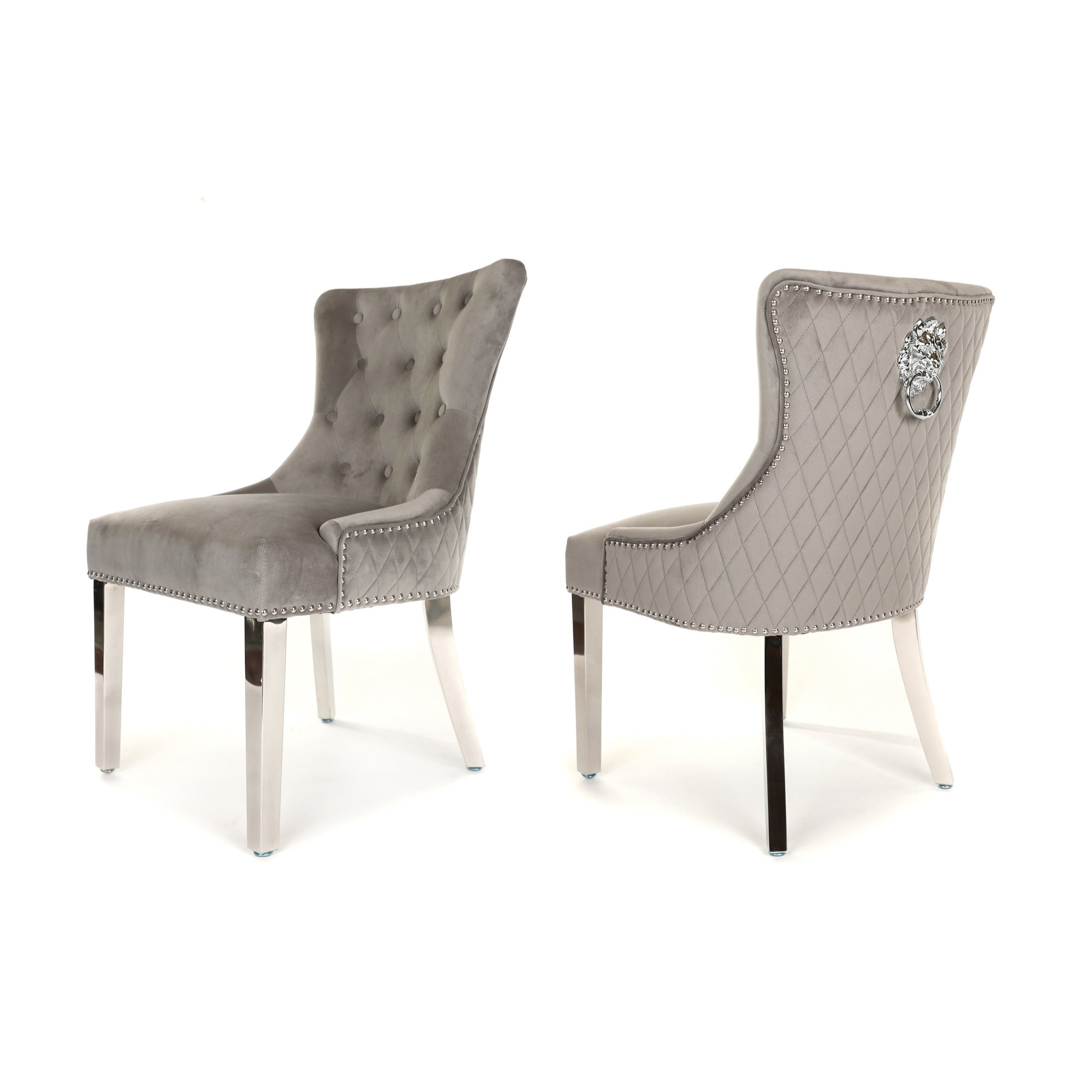 Simone Dining Chair upholstered in light grey velvet with stud detail, lion knocker and metal legs
